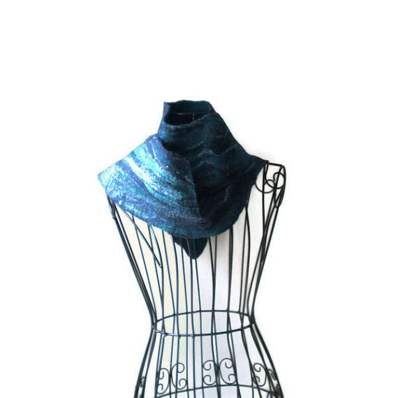 Blue Hand Felted Wool and Silk Scarf by MissTreeCreations on Etsy, $70.00