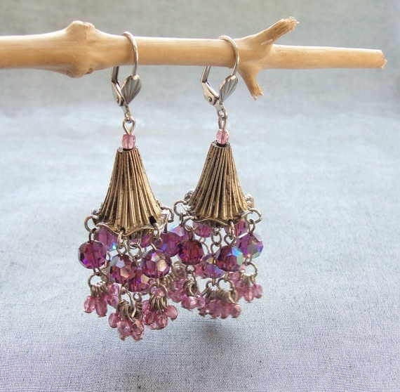 Purple Merry Go Round Crystal Earrings by StaroftheEast on Etsy