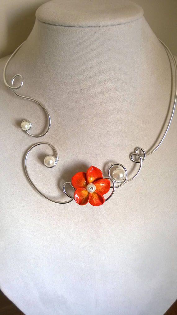 Orange wedding necklace Bridesmaid necklace Orange jewelry