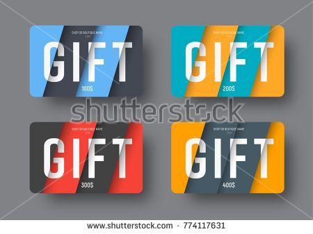 Set Of Vector Gift Cards In A Modern Style Of Material Design With