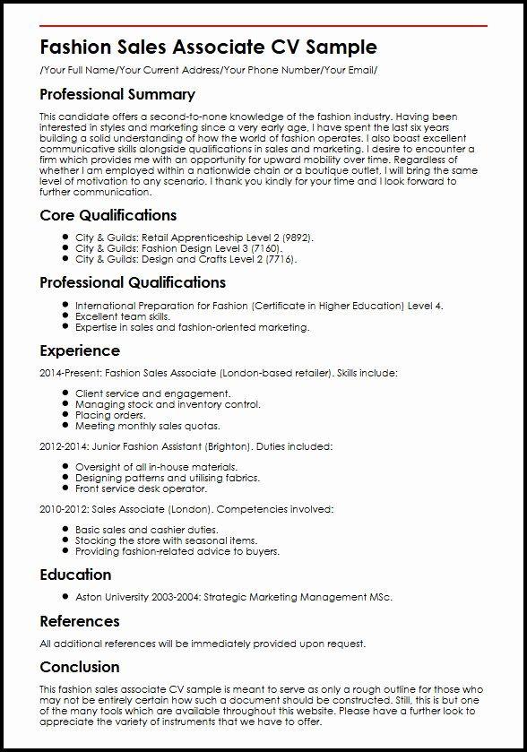Retail Clothing Sales Associate Resume Beautiful Fashion Sales Associate Cv Example Myperfectcv Manager Resume Resume Examples Job Resume Samples