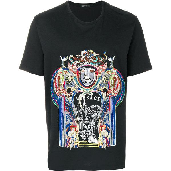 Versace Triptych print T-shirt (1,890 CAD) ❤ liked on Polyvore featuring men's fashion, men's clothing, men's shirts, men's t-shirts, black, mens patterned shirts, mens leopard print t shirt, versace mens t shirt, mens cotton shirts and mens multi coloured shirts