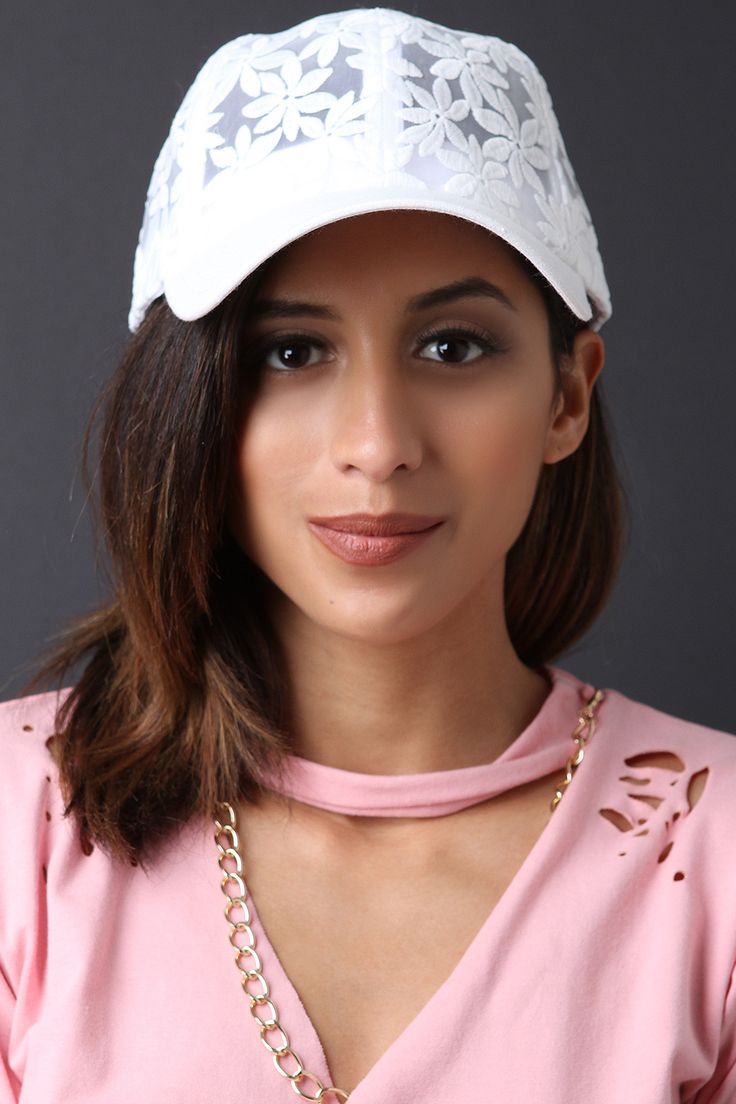 Embroidered Floral Mesh Baseball Cap