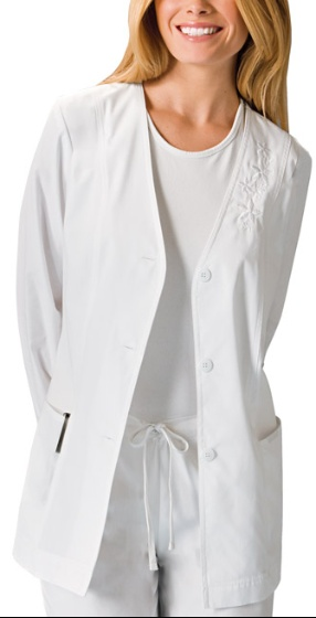 Cherokee Cardigan lab coat w/ embroidered flowers