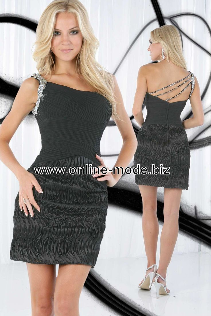 Kurzes Schwarzes Abendkleid mit One Shoulder Träger
