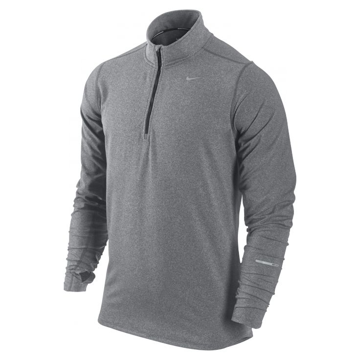 Nike Element Half-Zip - WARMTH FOR COOL RUNS  The Nike Element Half-Zip Men's Running Top combines sweat-wicking fabric, stretchy spandex and optimal coverage to help keep you comfortable on cooler days.  Stay Dry Dri-FIT jersey fabric moves sweat away from the body to help keep you comfortable and dry while providing a soft feel against the skin.  Comfort The half-zip design adds custom comfort while mesh underarm panels increase ventilation.  Coverage Thumbholes at the cuffs add ...