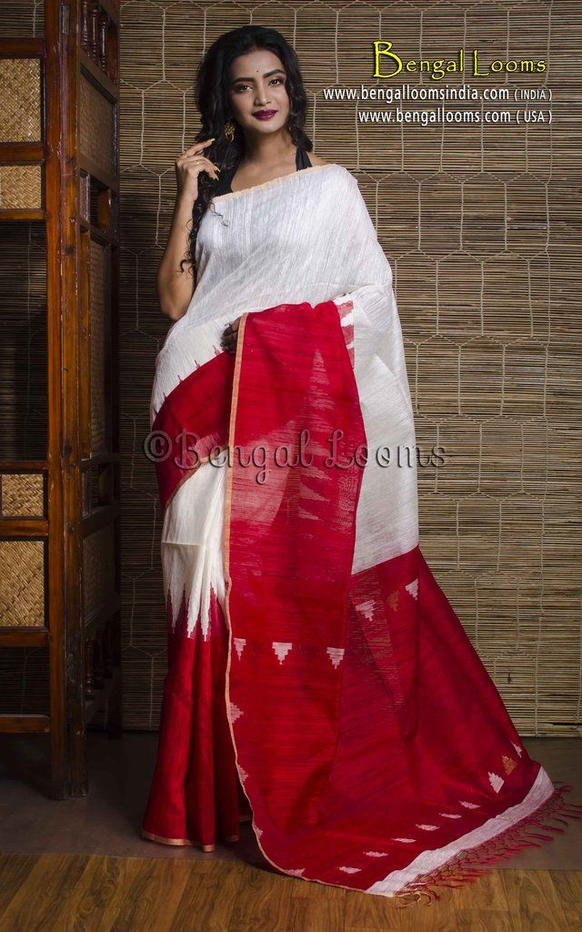 ef34ca7512 Khadi Tussar Silk Saree with Temple Border in White and Red   Indian ...