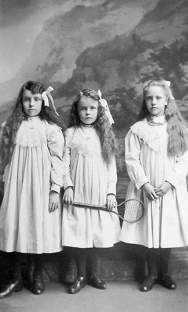 """1900... These girls look creepy. I wonder if they were told not to smile. One of the reasons I love these old pics, so many """"wonders"""""""