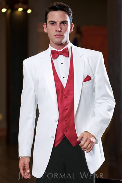 """Stephen Geoffrey Troy White Tuxedo  31.5"""" length, two button, single breasted styling with a non-vented back. Features a premium grade satin notch lapel and double-besom pockets. Shown with optional flat front formal trousers with a beaded stripe in white or black."""