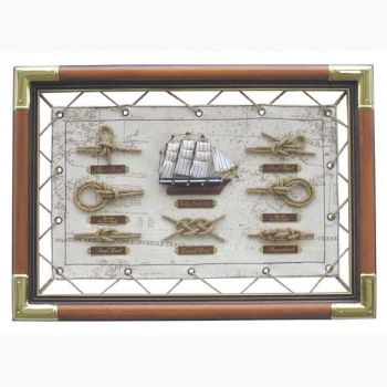 Knotentafel Holz/Stoff/Messing, 47x33cm, Knotennamen in ENGLISCH