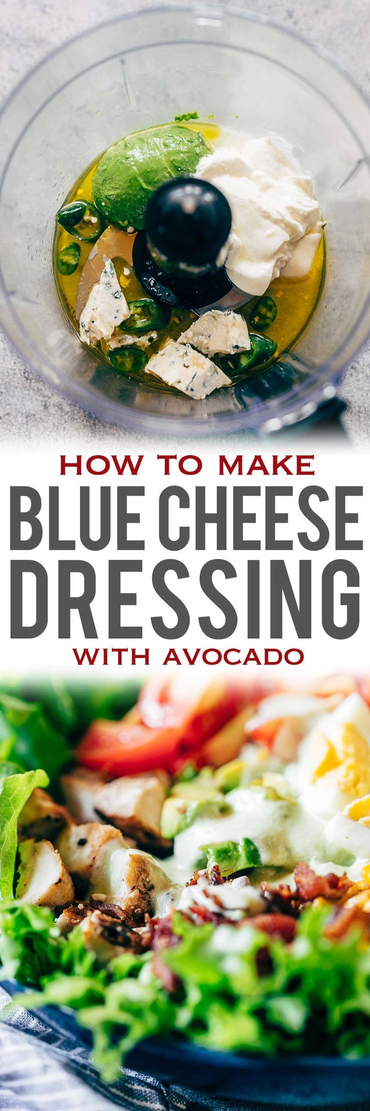Creamy avocado blue cheese salad dressing is the best homemade blue cheese dressing you'll try – its lighter because it's greek yogurt based and has a sharp taste that's perfect when drizzled on your favourite cobb salad. You can use this dressing to a pasta salad or even use it as a dip! via @my_foodstory