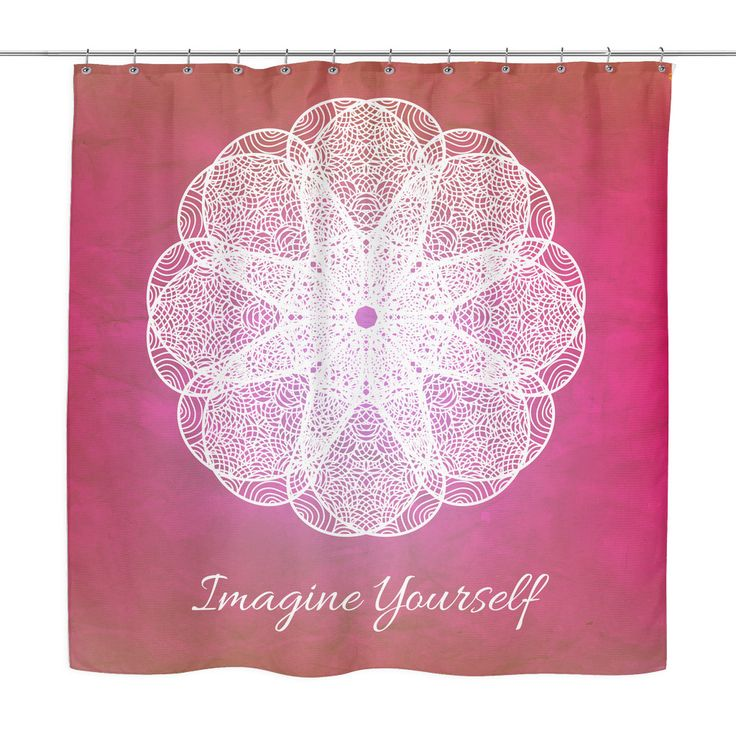 'Imagine Yourself' Motivational Quotes Red Shower Curtain