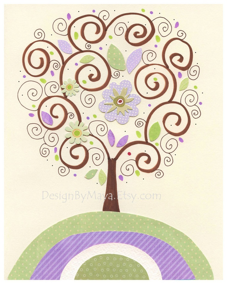 Baby girl Room Decor, Nursery wall Art prints, purple tree, vertical clover..match to the colors Gabrielle bedding, lavender and green. $17.00, via Etsy.