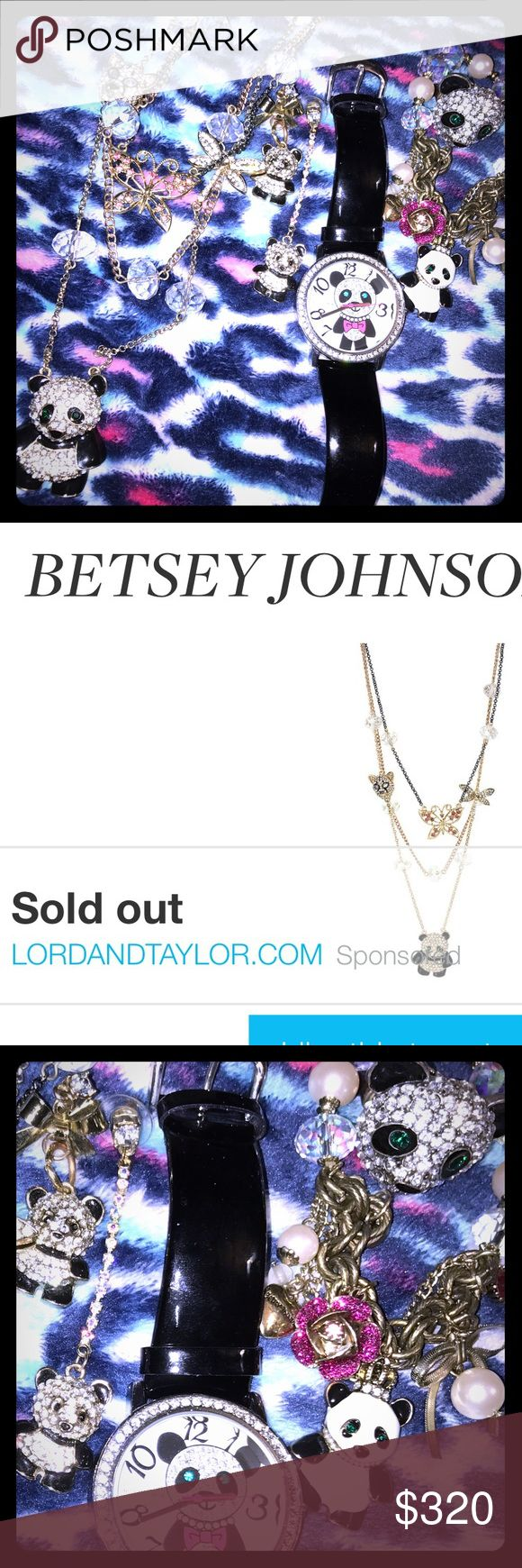 "COMPLETE betsey Johnson jewelers collection""read😁 Real sold out 3 rowed betsey neckless. Real authentic bj panda ring signature with diamond on in side. Real betsey genuine leather panda watch matching. Along with original matching earrings to this set. Bracelet is authentic but is not the exact matching one to this panda line still looking for 3 row bracelet that would really complete this collection. I'm not sure how much I want to sell this set for it took me a year to actually get every…"