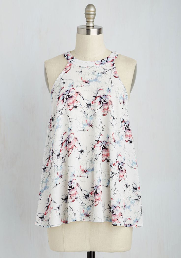 Flow Your Audience Top. You know the pal who invited you on a cruise is the same friend who will adore your flowy white tank top! #multi #modcloth