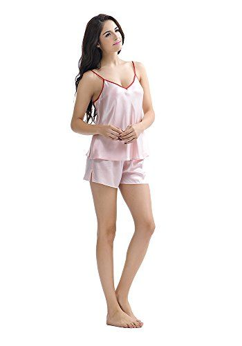 "Narasilk Women's 100% Satin Silk, Flare Short Camisole Set (boxers pants),Sleep  Narasilk Women's 100% Satin Silk, Flare Short Camisole Set (boxers pants),Sleep Hurry up to slow down in superior luxury and appeal with this ""fancy-fem"" silk camisole set, making off-time, your time. It features delicate contrasting satin trim along the edges and straps. The set includes matching pants. material: Made from 100%, 19 momme silk (Crepe Satin). Satin resembles the weave that is made up from.."