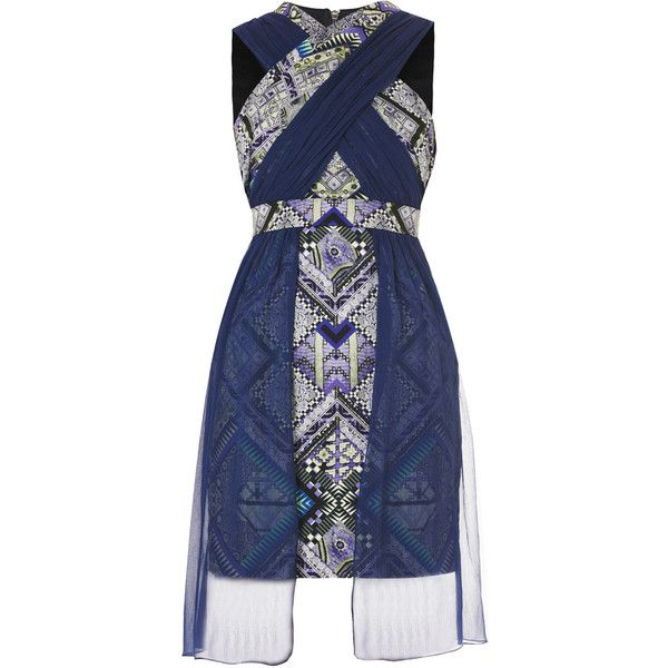 Matthew Williamson Sari tapestry-print drape dress (£360) ❤ liked on Polyvore featuring dresses, vestidos, draped dress, fitted dresses, sleeveless dress, zip dress and overlay dress