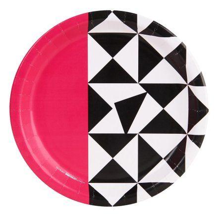 Bold Geometric Pink Dinner Plate (8), Multicolor