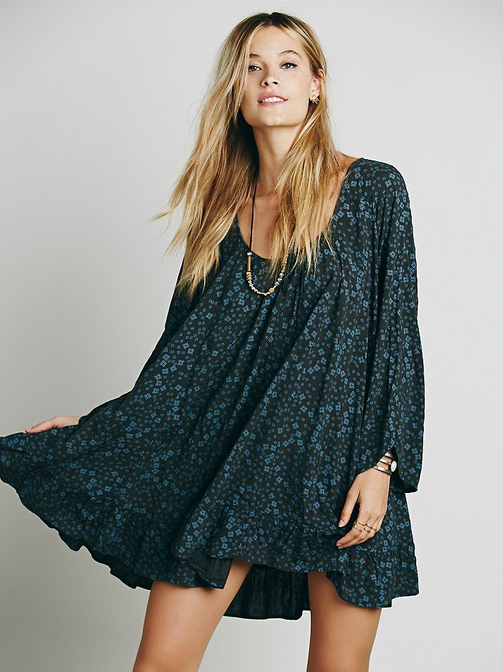 Free People Printed Ruffle Hem Tunic at Free People Clothing Boutique