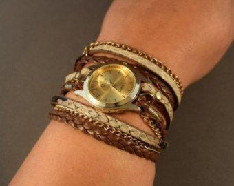 Montre-femme montre-cadeau en cuir pour son cache-coeur montre cuir montre-montre bracelet pour femme-Bracelet montre-Boho montre-cadeaux d'or montre-amitié