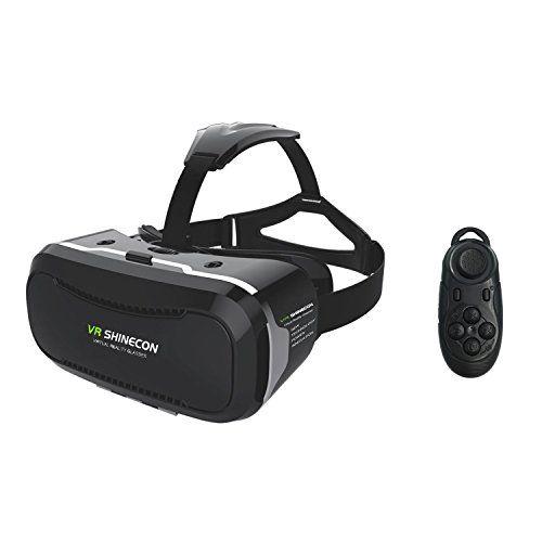 COOVOO Visualizacion 360 Auricular Gafas De Realidad Virtual Inmersiva 3D VR Caja Gafas 3D Para Peliculas Video Juegos Compatible Con iPhone Samsung Galaxy Nota Huawei y otros Smartphone (con control Remoto)