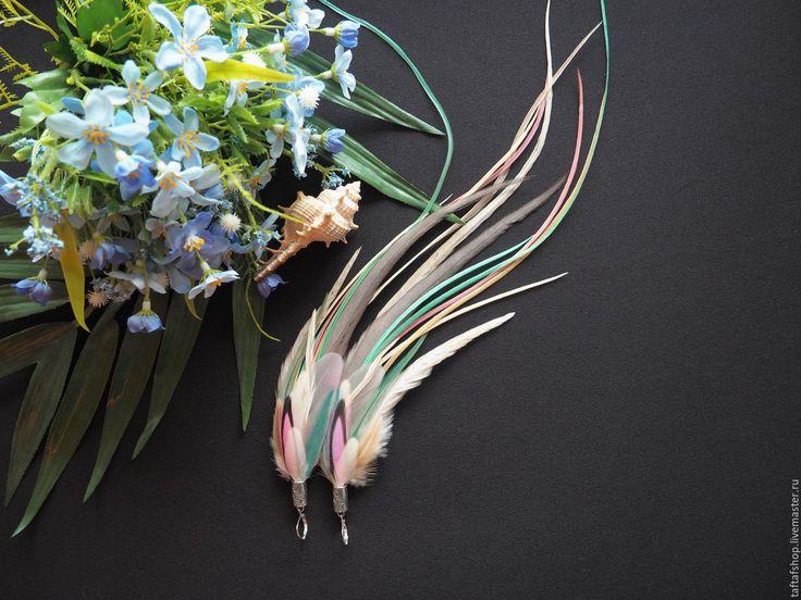 Серьги с перьями - Конфета, длинные серьги, большие перья - серьги с перьями