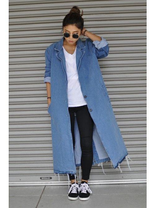 裾が切りっぱなしでラフなイメージのカジュアルなデニムコートコーデ♪冬のファッションアイテム デニムコート コーデを集めました♪