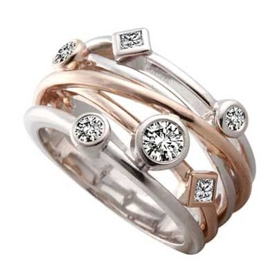 This opulent two tone ring woven in white and rose gold together would make a perfect #gift for your #anniversary because you can't put a price on love.