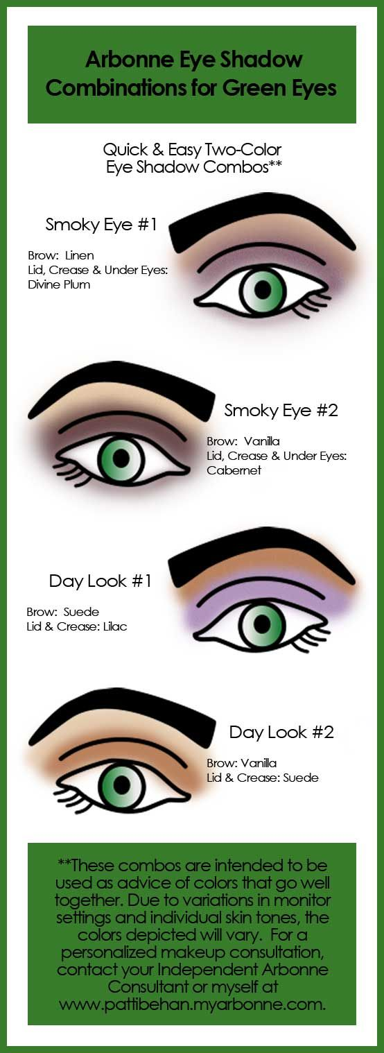 Here are some suggested Arbonne Eye Shadow Combinations for Green Eyes for quick and easy application. Consultant #13529427