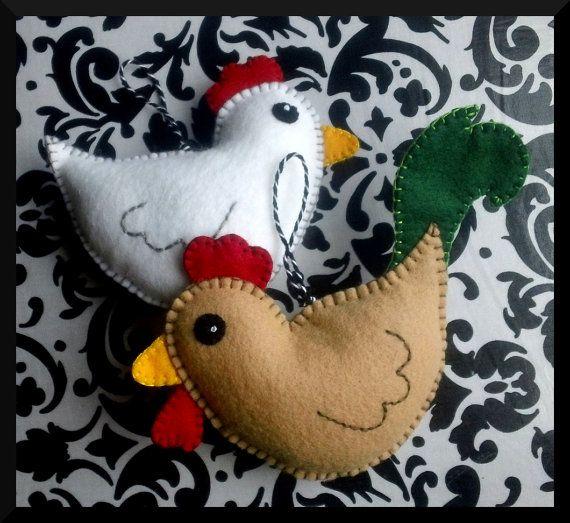 Rooster and Hen Chicken PAIR Lavender or от BrokenNeedleCrafts