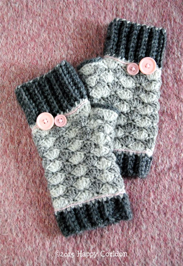 Crochet Jobs : ... uncinetto in lana, rosa e grigi. grey and pink crochet hand warmer