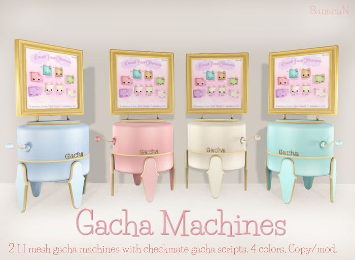 GACHA MACHINES  Available @ BananaN inworld store in Second Life.