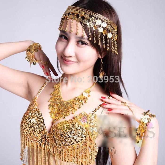 belly dance jewelry headdress necklace earrings finger ring bracelet suit indian dance head pin torque earring hand ring props(China (Mainland))
