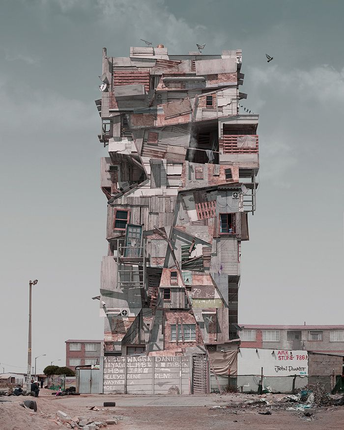 If Mad Max Were a Brilliant Architect, Here's What He'd Build | He takes bits and pieces from photos and add a 3-D rendering he created with software.  Justin Plunkett  | WIRED.com