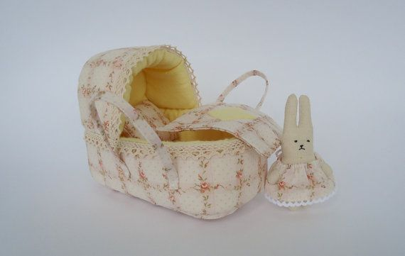 doll bassinet and bunny by AnnaToys on Etsy, $23.00