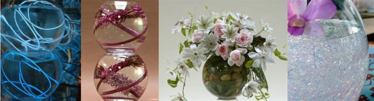 Very unique shapes....love the crystal fibers used in the fishbowl vase at the end