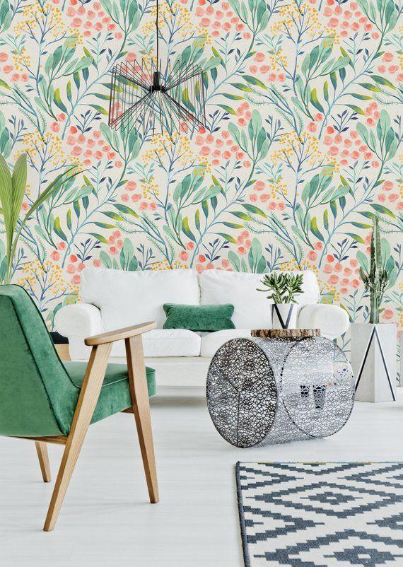 Removable Wallpaper Self Adhesive Wallpaper Watercolor Wild