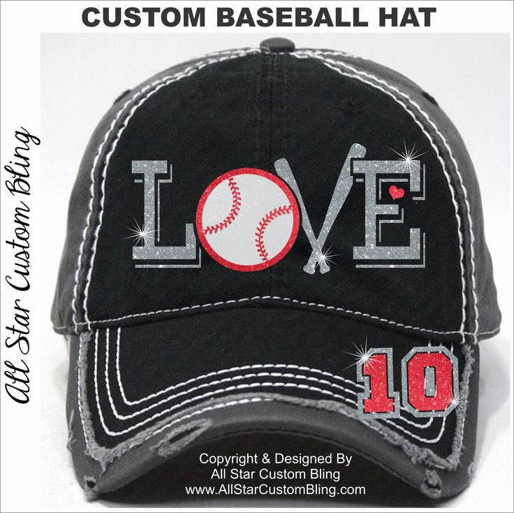 Glitter Baseball LOVE Hat, Baseball Mom Distressed Hat, Mom Baseball Hat, Custom Baseball Hat, Personalized Baseball Mom Hat by AllStarCustomBling on Etsy