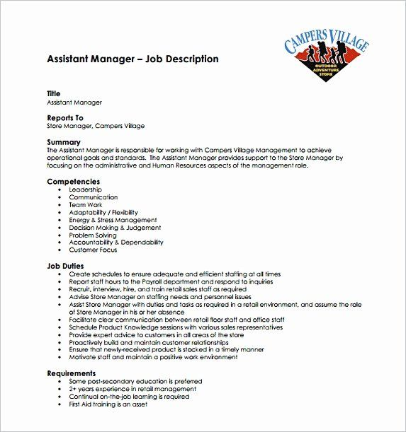 Assistant Store Manager Job Description Resume Fresh Assistant Store Manager Resume In 2020 Manager Resume Job Description Template Assistant Manager