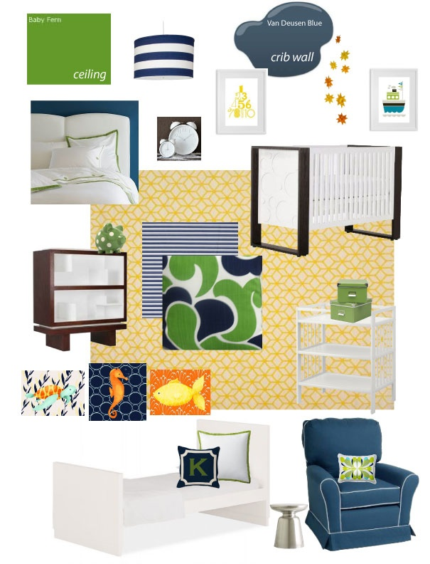 Modern nautical nursery i need that green and navy fabric for Nautical nursery fabric
