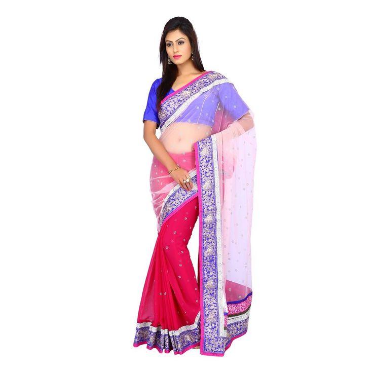 Indian Light Peach and Dark Pink Net Bamberg georgette Women Saree with Blouse #Milonee #NewDesignerSaree