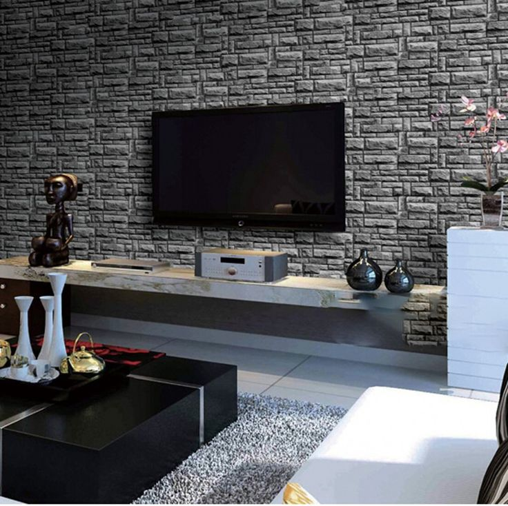 Modern 3d moderno papel de parede de tijolos de pedra for Black brick wallpaper bedroom
