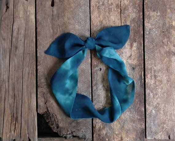 Green Headscarf. Tie Dye Chiffon Headband by FiberBungalow on Etsy, $14.00