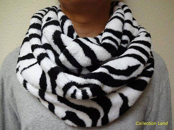 Infinity Scarf, Circle Scarf, Fleece Scarf, Neck Warmer – 2 Selections, Zebra, Cheetah, White, Black, Stylish, Holiday Gifts, Christmas