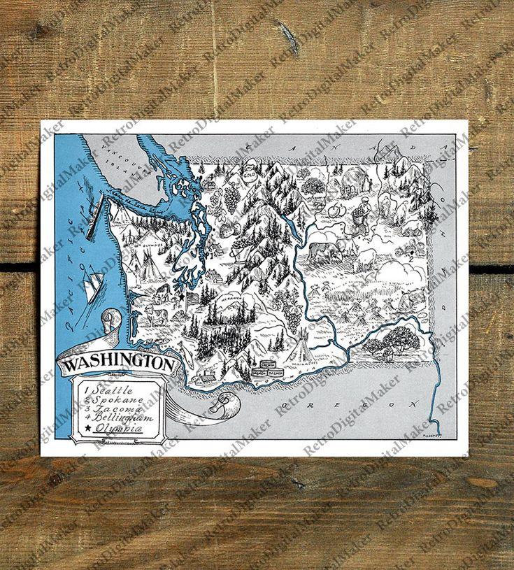 Washington WT United States whimsical map by
