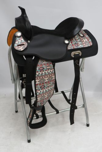 """ONE OF A KIND 16"""" Synthetic saddle with a Navajo diamond overlay"""