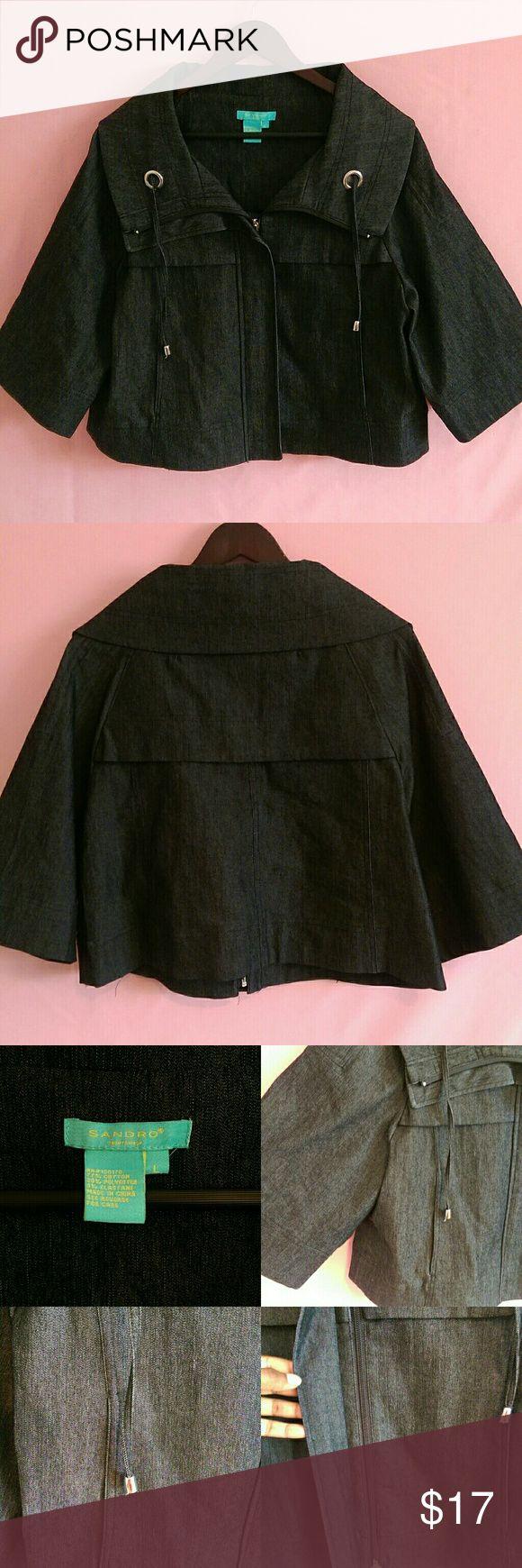 Large Pretty Dark Denim Jacket Pretty Dark Denim Zip up jacket!   Size: Large Brand: Sandro Sandro Jackets & Coats Jean Jackets