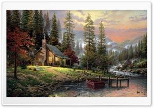 Chalet Painting HD Wide Wallpaper for Widescreen