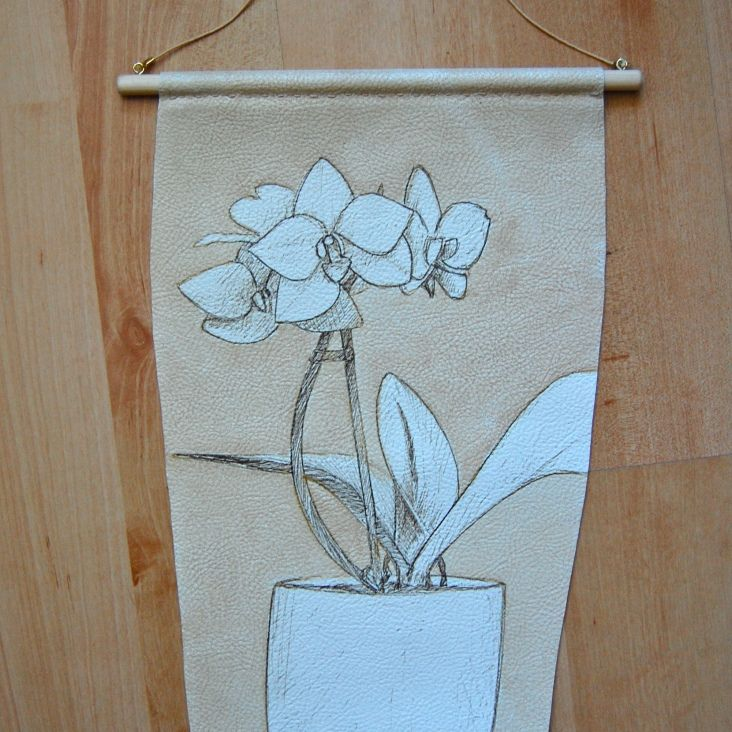 Wall hanging - pen and emulsion staining technique on leatherette - by Louise S.A. Allen