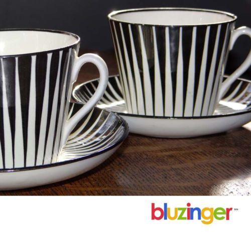 1950's Modern Pair Zebra Gefle Upsala Ekeby Cup Saucer Eugene Trost Sweden | eBay